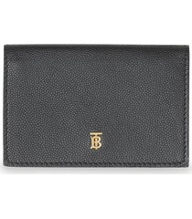 burberry small grainy leather folding wallet - black