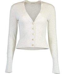 cashmere lurex button cardigan