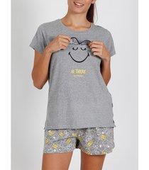 pyjama's / nachthemden admas pyjama kort t-shirt icon holografisch smiley grijs