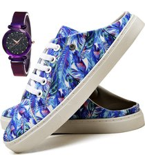 tãªnis mule sapatãªnis casual fashion com relã³gio luxury feminino dubuy 313el azul - azul - feminino - sintã©tico - dafiti