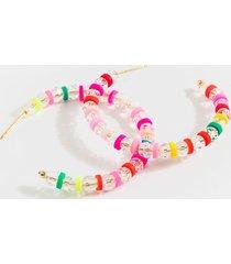 women's alexa clear beaded hoop earrings in multi by francesca's - size: one size