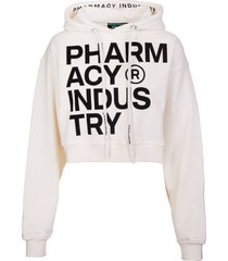 pharmacy industry woman crop hoodie with deconstructed logo