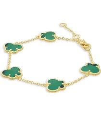 jan-kou women's butterfly 14k goldplated & emerald bracelet