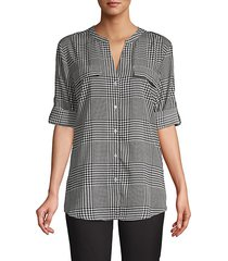 rolled-sleeve button-front plaid blouse