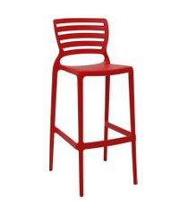 cadeira alta bar tramontina 92137040 sofia c/ encosto vazado vermelho