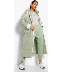 tall gewatteerde long line jas met contrasterende faux fur afwerking, kaki