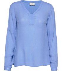 amber l/s blouse- min 2 t-shirts & tops long-sleeved blå kaffe
