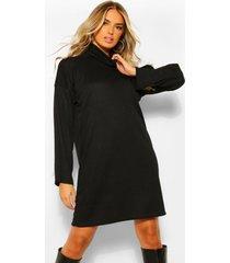 gerecyclede loshangende jurk met col en mouwsplit, zwart