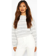 brushed ribbed jersey stripe long sleeve top, grey
