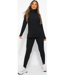 petite gebreide geribbelde coltrui en legging set, zwart