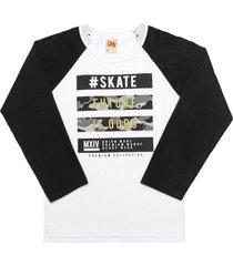 camiseta livy inverno skate branco/preto