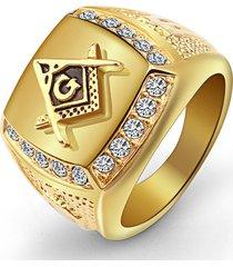 uomo trendy punk anello quadrato d'oro acciaio a titanio con logo di free-mason di strass