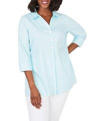 plus size women's foxcroft pamela day stripe stretch button-up shirt, size 24w - blue
