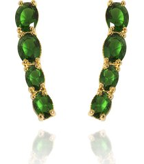 brinco ear cuff gota semijoia banho de ouro 18k zircã´nia verde - verde - feminino - dafiti