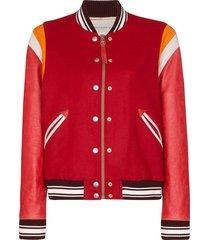 golden goose scarlett varsity bomber jacket - red