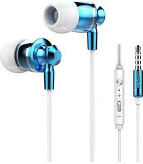 audífonos manos llibres, m300 auriculares de control de volumen de metal bass auriculares estéreo hifi con micrófono para teléfono de computadora (azul)