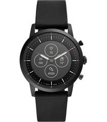 fossil tech collider black silicone strap hybrid smart watch 42mm