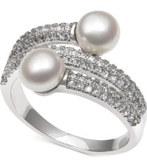 cultured freshwater pearl (6mm) and cubic zirconia wrap-look statement ring in sterling silver