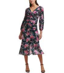 guess long-sleeve floral midi dress