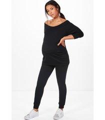 maternity bardot top & lounge set, black