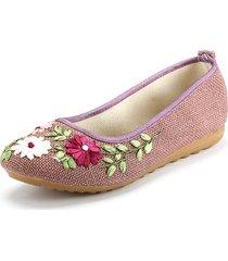 flower print colorful national wind slip on scarpe piatte