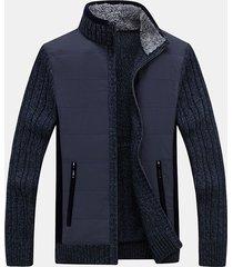 cardigan casual in maglia patchwork lavorato a maglia con cerniera in acrilico caldo invernale da uomo
