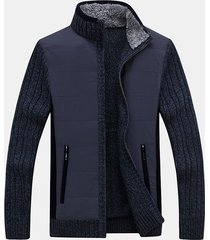 mens inverno caldo spessore maglione acrilico cappotto chiusura lampo tessuto patchwork casual cardigan