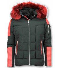 rode bontjas - zwarte winterjas - winterjas heren - nep bontjas - zwart