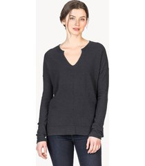 lilla p long sleeve split neck top