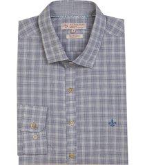 camisa dudalina manga longa fio tinto maquinetado fil a fil xadrez masculina (azul medio, 7)