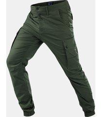 tattico militare da uomo pantaloni multi-tasca tinta unita resistente all'usura casual carico pantaloni