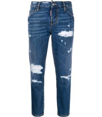 dsquared2 beach cool girl cropped jeans - blue