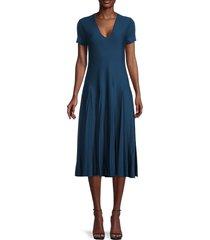 salvatore ferragamo women's virgin wool a-line dress - blue - size xl