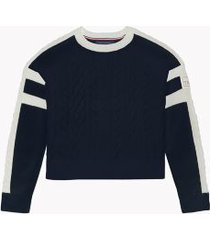 tommy hilfiger women's essential cable-knit sweater sky captain / ivory - xs