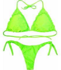 biquãni cortininha divance verde neon   calcinha ripple 613 - verde - feminino - poliamida - dafiti