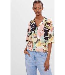 blouse met veelkleurige print