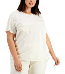 alfani plus size mixed-media top, created for macy's