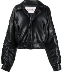 nanushka aida vegan leather bomber jacket - black