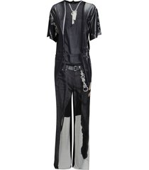 black and white viscose jumpsuit