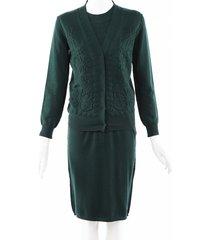 lanvin wool knit midi dress with cardigan green sz: s