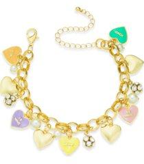 holiday lane gold-tone crystal & imitation pearl sweetie heart charm bracelet, created for macy's