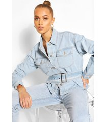 belted jean jacket, light blue