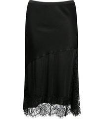 gold hawk lace-godet satin skirt - black