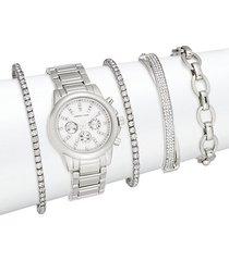 glitz 5-piece link bracelet watch set/silvertone