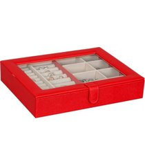 mele co. crystal glass top fashion jewelry case in textured red vegan leather