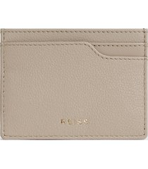 reiss charlie - pebble grained leather card holder in off white, womens