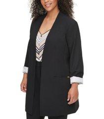 calvin klein plus size collarless open-front topper jacket
