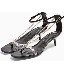 *wide fit rush black chain mini heels - black