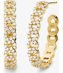 mk orecchini a cerchio con maglie a catena in argento sterling placcato oro 14k e pavé - oro (oro) - michael kors