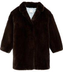 women's sandro faux fur coat, size 8 us - brown